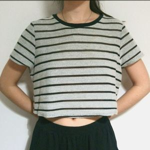 NWOT Black Mesh & Gray Striped Cropped Tee